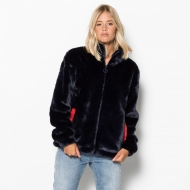 Fila Arianna High Neck Fur Jacket blau