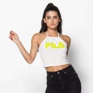 Fila Chiara Halterneck Top white-acid-lime weiß