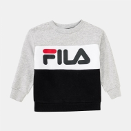 Fila Kids Night Blocked Crew Shirt lightgrey-melange-black lightgrey-melange