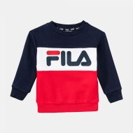 Fila Kids Night Blocked Crew Shirt black-iris-red navyblau-rot