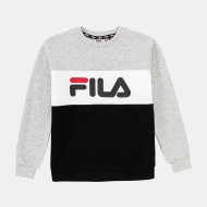 Fila Teens Night Blocked Crew Shirt lightgrey-melange-black lightgrey-melange
