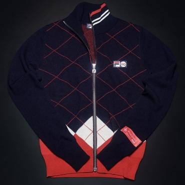 Fila Cashmere Argyle Full Zip Sweater