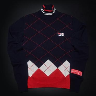 Fila Cashmere Argyle Mock Turtle Neck Sweater