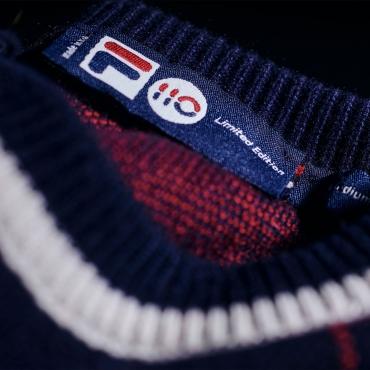 Fila Cashmere Blend Argyle Crew Neck Sweater