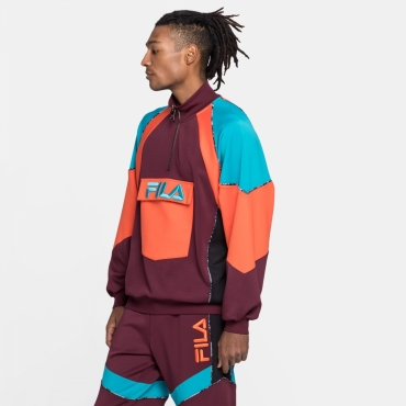 Fila Gia Oversized Half Zip fig-tigerlily-caribbean-sea