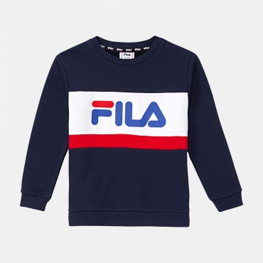 Fila Kids Carl Blocked Crew Shirt blue-iris