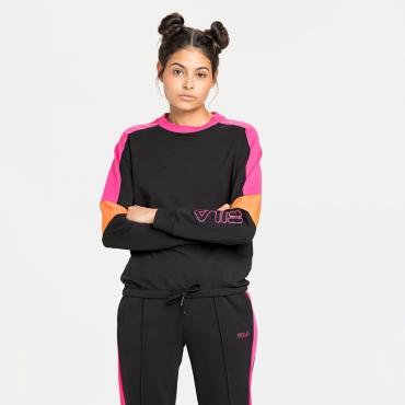 Fila Paulina Cropped Crew Sweat black-beetroot-purple