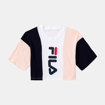 Fila Teens Tamson Blocked Crew Top rose-white-navy