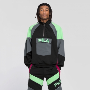 Fila Gia Oversized Half Zip black-turbulence-green-sangria