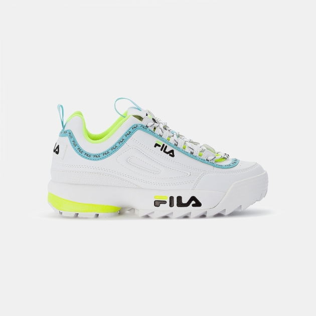 Fila Disruptor Logo Low Wmn white-neon-lime