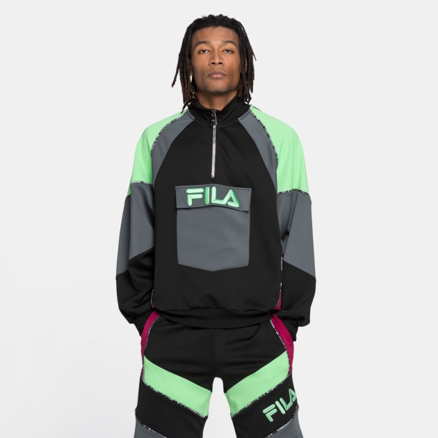 Fila Gia Oversized Half Zip black-turbulence-green-sangria