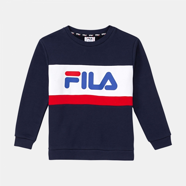 Fila Kids Carl Blocked Crew Shirt blue-iris