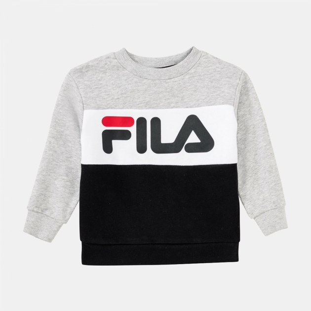 Fila Kids Night Blocked Crew Shirt lightgrey-melange-black