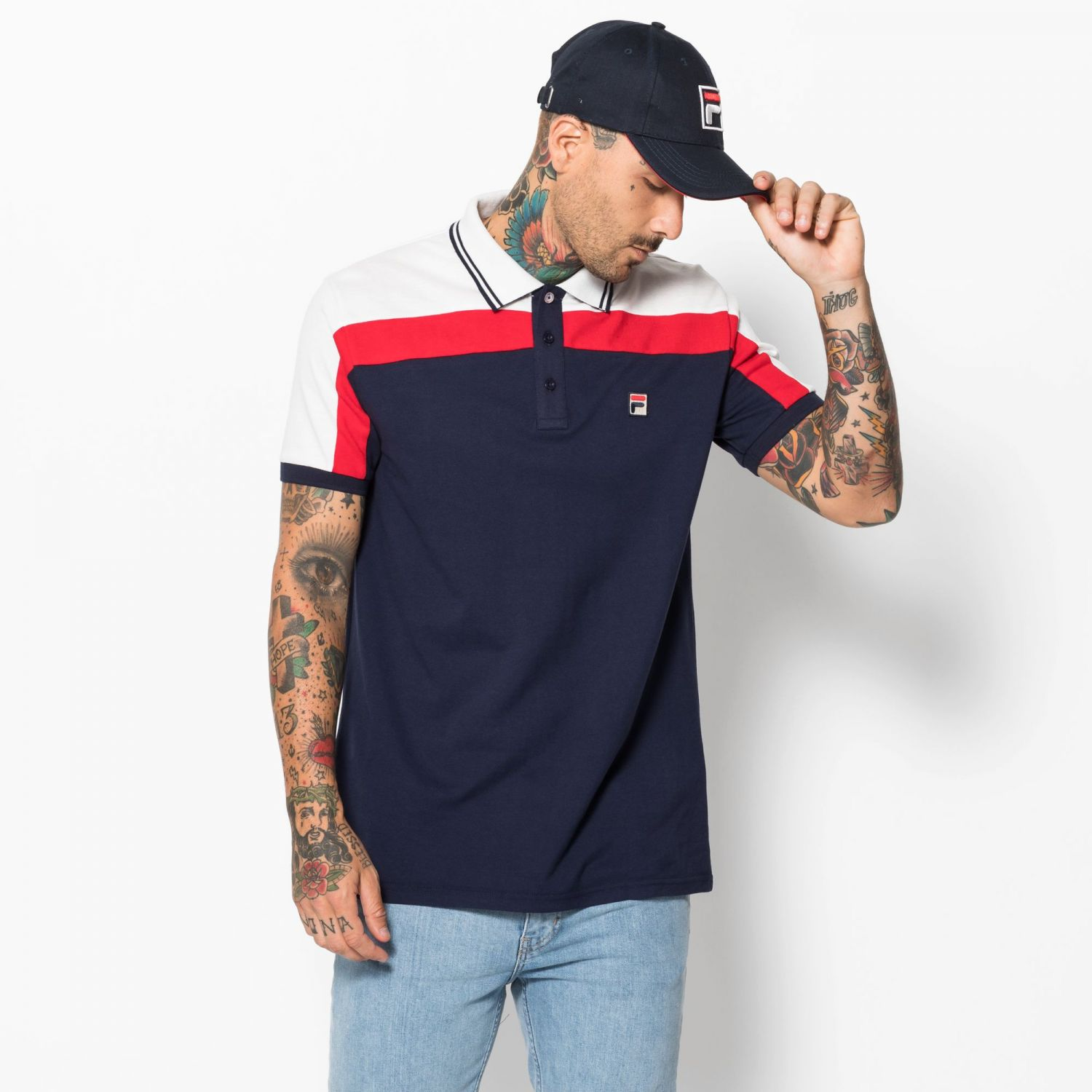 b705a953ff87 Fila - Cut   Sew Panel Slim Fit Polo - 000142016...